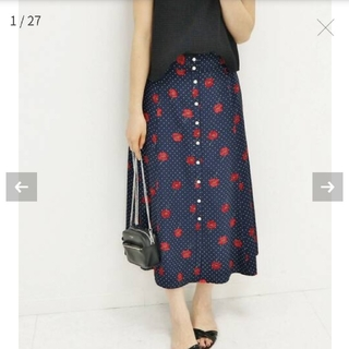 イエナ(IENA)のIENA ドット前ボタンスカート ネイビー 花柄 フラワー 36(ロングスカート)