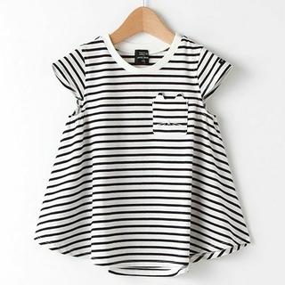 petit main - プティマイン オーガニックコットンAラインボーダシャツ 紺ボーダー 120