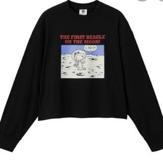 ジーユー(GU)のロングスリーブT(長袖)Peanuts1 ブラック 新品未使用 Mサイズ(Tシャツ(長袖/七分))