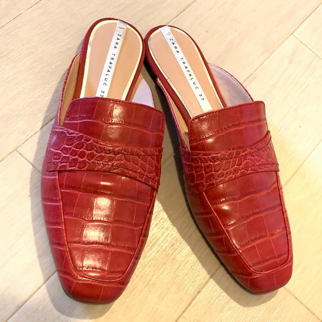 ZARA(ザラ)のZARA。クロコ柄 バブーシュ ミュール。美品 レディースの靴/シューズ(ミュール)の商品写真
