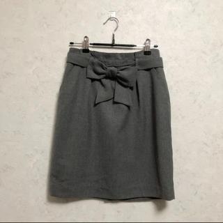 プロポーションボディドレッシング(PROPORTION BODY DRESSING)のリボン取り外し可能 グレー スカート(ひざ丈スカート)