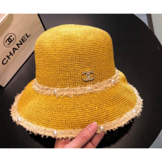 シャネル(CHANEL)のCHANEL CC ココマーク麦わら帽子 ハット  (ハット)