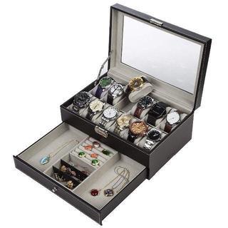 腕時計収納ケース 腕時計収納ボックス 2段式 12本用 アクセサリー収納兼用 s(腕時計(デジタル))