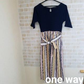 one*way - 【本日削除/最終値下げ】one way  ウエストリボン 切替ワンピース