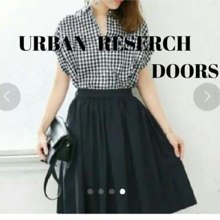 ドアーズ(DOORS / URBAN RESEARCH)のアーバンリサーチ ドアーズ ギャザースカート ネイビー(ひざ丈スカート)