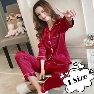 サテン ナイトウェア パジャマ  セットアップ 上下 Lサイズ 長袖 レッド(パジャマ)