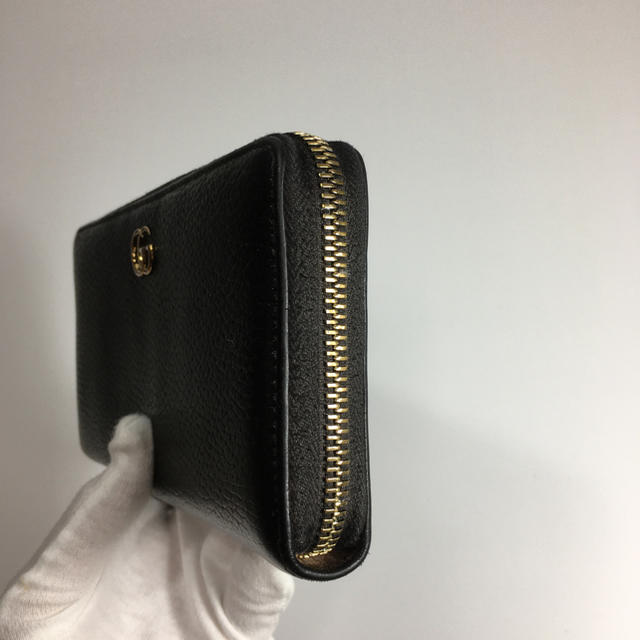 Gucci(グッチ)の【美品】GUCCI グッチ マーモント GG ラウンドファスナー 黒 ブラック レディースのファッション小物(財布)の商品写真