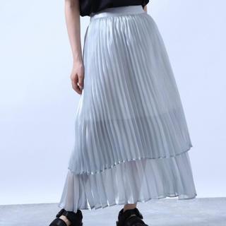 ハレ(HARE)のシアープリーツスカート  スカイブルー(ひざ丈スカート)