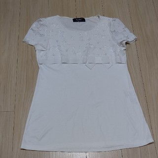 エムズグレイシー(M'S GRACY)のM'sグレイシー白胸元、袖レースチュニック(チュニック)