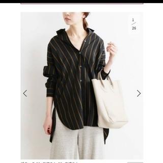 イエナ(IENA)のIENA イエナ オーバーサイズシャツ ストライプ ブラック ブラウン(シャツ/ブラウス(長袖/七分))