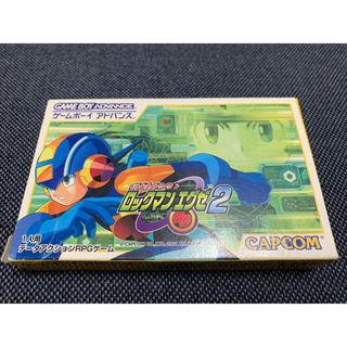 ゲームボーイ(ゲームボーイ)のロックマンエグゼ2 箱説明書付き 非売品デコレーションシール込み(家庭用ゲームソフト)