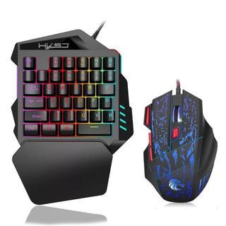 ゲーミング 片手キーボード マウス セット USB接続 LED