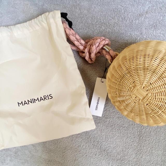 Drawer(ドゥロワー)の新品未使用 manimaris フルムーンバスケット ストラップ ピンク レディースのバッグ(かごバッグ/ストローバッグ)の商品写真