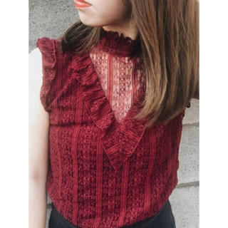 SLY - SLY STRIPE LACE STAND FRILL TOPS