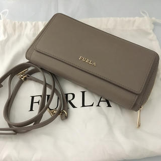 Furla - FURLA 美品 グレー ラウンドファスナー レザー ショルダーウォレット