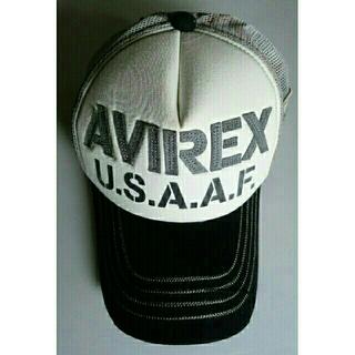 アヴィレックス(AVIREX)のキャップ オフホワイト・黒 あて布加工(キャップ)