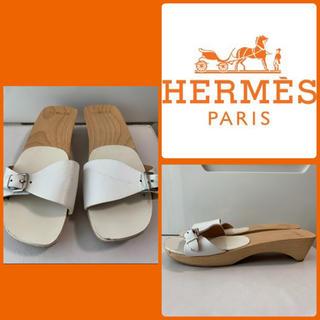 Hermes - エルメス ホワイトレザー サンダル