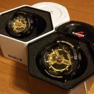 ジーショック(G-SHOCK)のCASHIO G-SHOCK ジーショック ペア ブラック ゴールド(腕時計(デジタル))