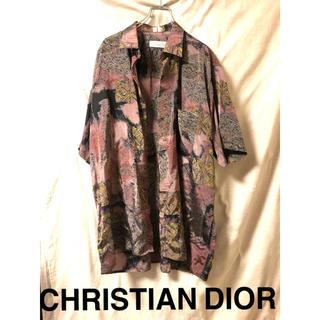 クリスチャンディオール(Christian Dior)のChristian Dior 総柄シャツ シルク100% 半袖 ロゴ刺繍 XL (シャツ)