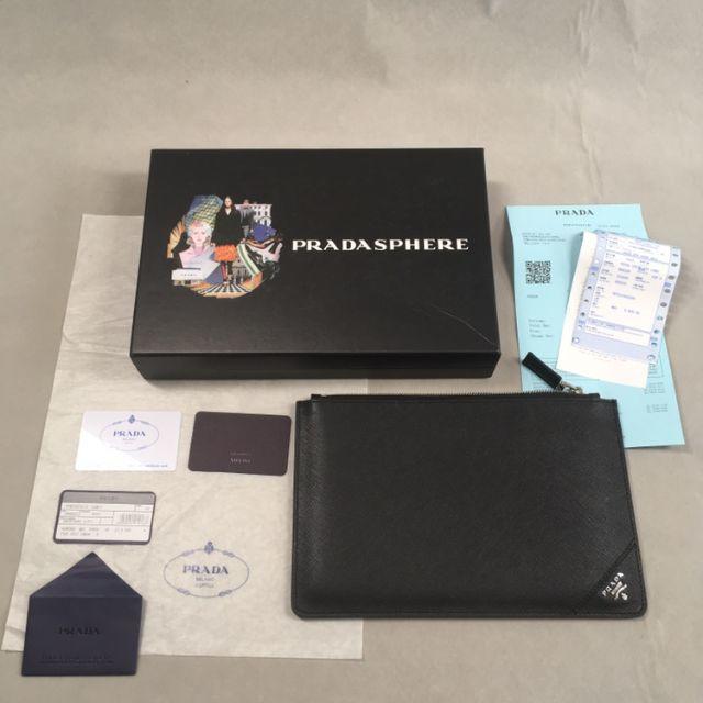 PRADA(プラダ)のprada クラッチバッグ ブラック 黒 レザー ポーチ メンズ メンズのバッグ(セカンドバッグ/クラッチバッグ)の商品写真