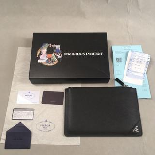 PRADA - prada クラッチバッグ ブラック 黒 レザー ポーチ メンズ