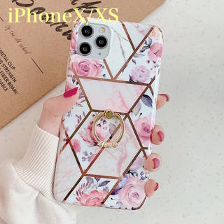 リング付き✨薔薇♡大理石 iPhoneケース