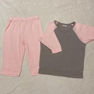ウンナナクール(une nana cool)のウンナナクールの夏パジャマ半袖ピンク×グレー(ルームウェア)