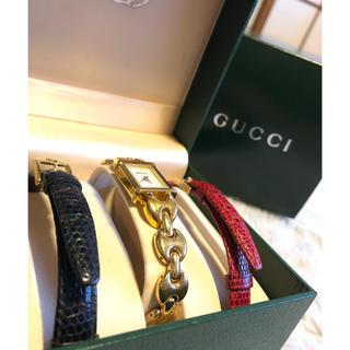 Gucci - グッチ 腕時計 GUCCI ゴールド 赤 黒 ベルト付け替え