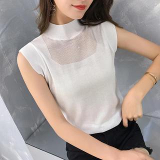 ZARA - デコルテシースルーデザイントップス(ホワイト)