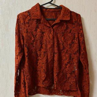 ページボーイ(PAGEBOY)の長袖レースシャツ オレンジ(シャツ/ブラウス(長袖/七分))