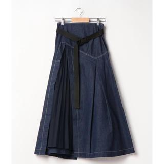 アウラアイラ(AULA AILA)のAULA AILA プリーツパーツ デニムスカート(ロングスカート)