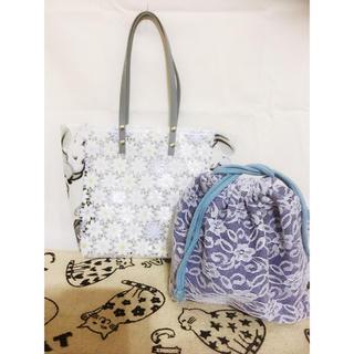 花柄×アリス 巾着付きビニールバッグ(トートバッグ)