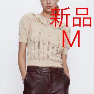 ZARA - 新品 ZARA クロシェ編み襟付きセーター ニット