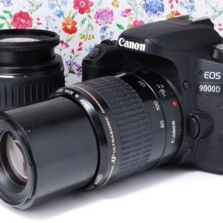 キヤノン(Canon)の【美品】Canon EOS 9000D 標準&望遠 ダブルレンズ(デジタル一眼)