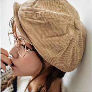 ベージュ コーデュロイ キャスケット デニム 帽子 ハンチング ハット(ハンチング/ベレー帽)