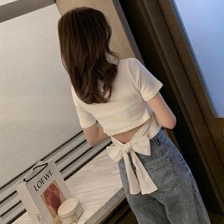 フレイアイディー(FRAY I.D)のウエストバックリボンミニTシャツ ホワイト 背中開き stella tokyo(Tシャツ/カットソー(半袖/袖なし))