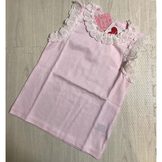 Shirley Temple - シャーリーテンプル ハート レース タンクトップ カットソー 120 ピンク