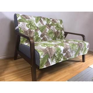 中掛けソファカバー 横幅150×長さ150cm対応型 ハワイアン:モカグリーン(ソファカバー)