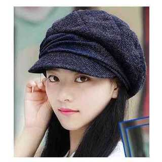 インディゴグレー藍灰色 小顔 防寒 キャスケット 帽子 レディース フェミニン(ハンチング/ベレー帽)
