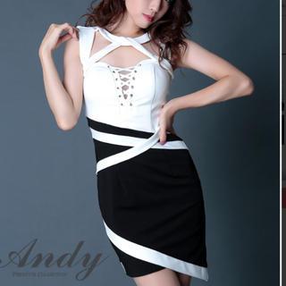 Andy - andy ホワイトブラックバイカラードレス