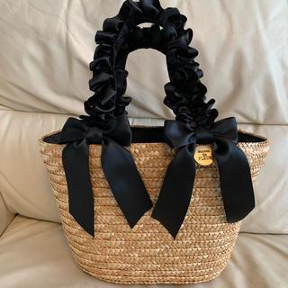 メゾンドフルール(Maison de FLEUR)のメゾンドフルール かごバック リボン 黒 ブラック(かごバッグ/ストローバッグ)