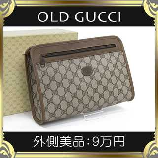 Gucci - 【真贋査定済・送料無料】グッチのクラッチバッグ・外側美品・本物・GGプラス・希少