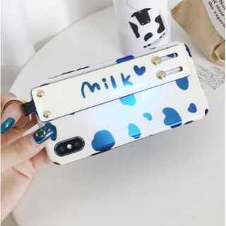 iPhoneXS Maxケース ミルク柄 リング付 ベルト付き