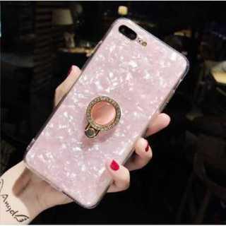 iPhone7,8,SEケース リング ラインストーン ピンク