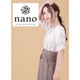 ナノユニバース(nano・universe)のさらさらコットン✨パフスリーブブラウス ホワイト(シャツ/ブラウス(半袖/袖なし))