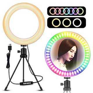 LEDリングライト 照明 撮影 自撮り 10色10段階調光モード 高輝度照(ストロボ/照明)