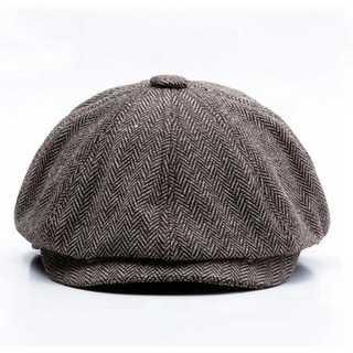 ハット 58cm 帽子 ブラウン ホック付き キャスケット ハンチング つば付き(ハンチング/ベレー帽)