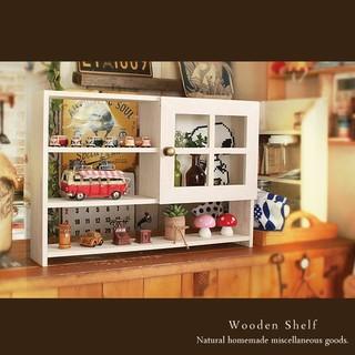 ハンドメイド 扉付き シェルフ 木製 棚 飾り棚 ホワイト(家具)