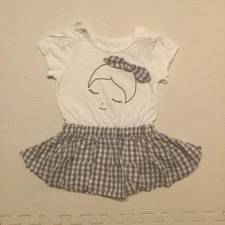 ブランシェス(Branshes)のチェックスカート付き半袖カバーオール(カバーオール)