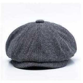 ハット 60cm 帽子 グレー ホック付き キャスケット ハンチング つば付き(ハンチング/ベレー帽)